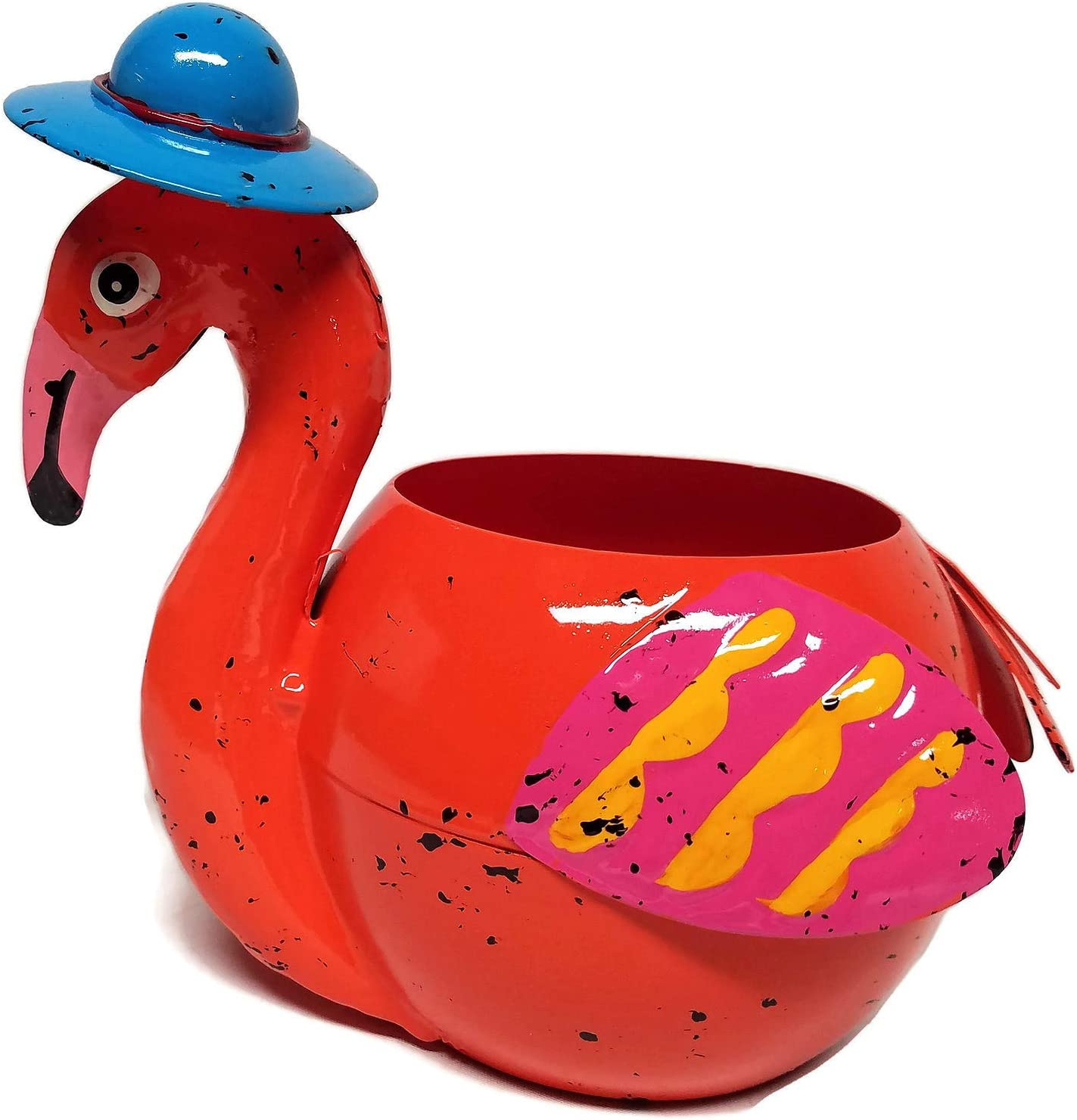 Metal Flamingo Planter Flower Pot (Orange)