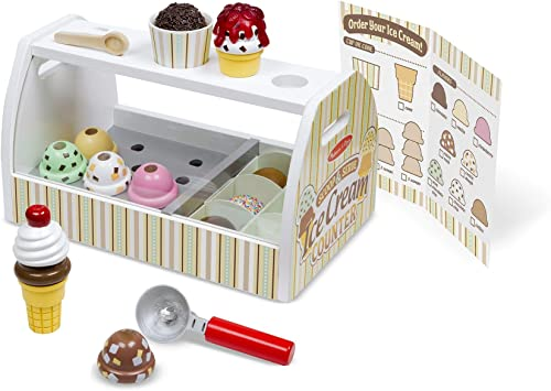 Melissa Doug Wooden Scoop Serve Ice Cream Counter Play Food And Accessories 28 Pieces Realistic Scooper Great Gift For Girls And Boys Best