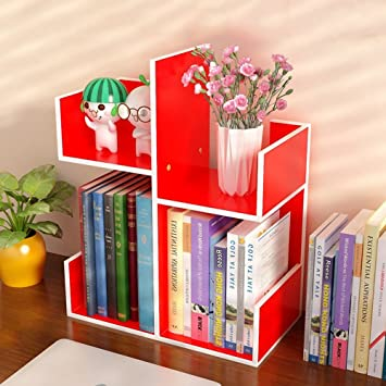 Zfggd Desk Bookshelf Desktop Tidy Organiser Display Storage Shelves Freestanding Bookcase Color RED