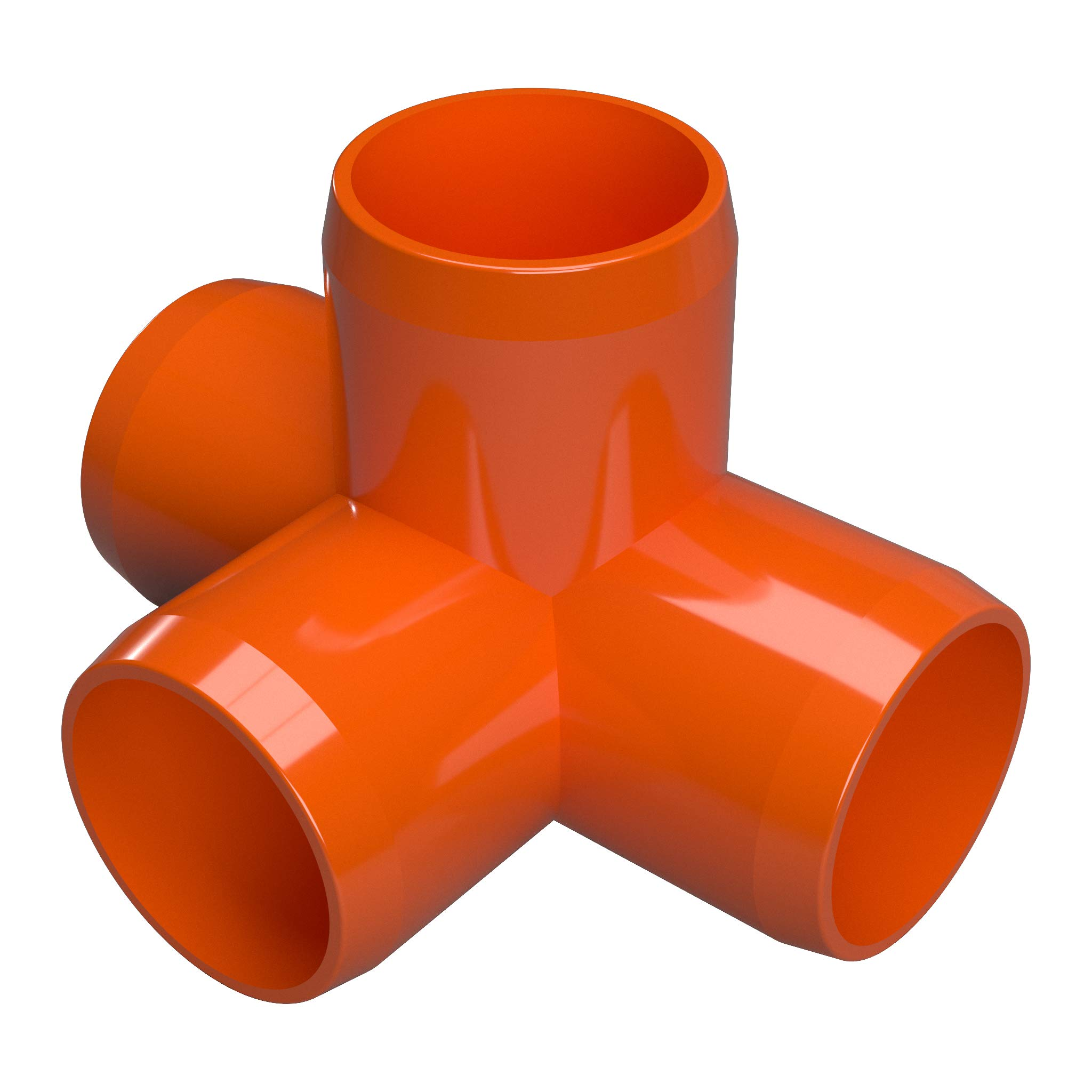 FORMUFIT F1144WT-OR-4 4-Way Tee PVC Fitting, Furniture Grade, 1-1/4'' Size, Orange (Pack of 4)