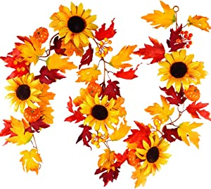 TOPHOUSE 6ft Artificial Fall Maple Leaves Garland with Pumpkins Sunflowers Berries Autumn Fake Garland for Thanksgiving Halloween Mantel Outdoor Wedding Party Home Decor