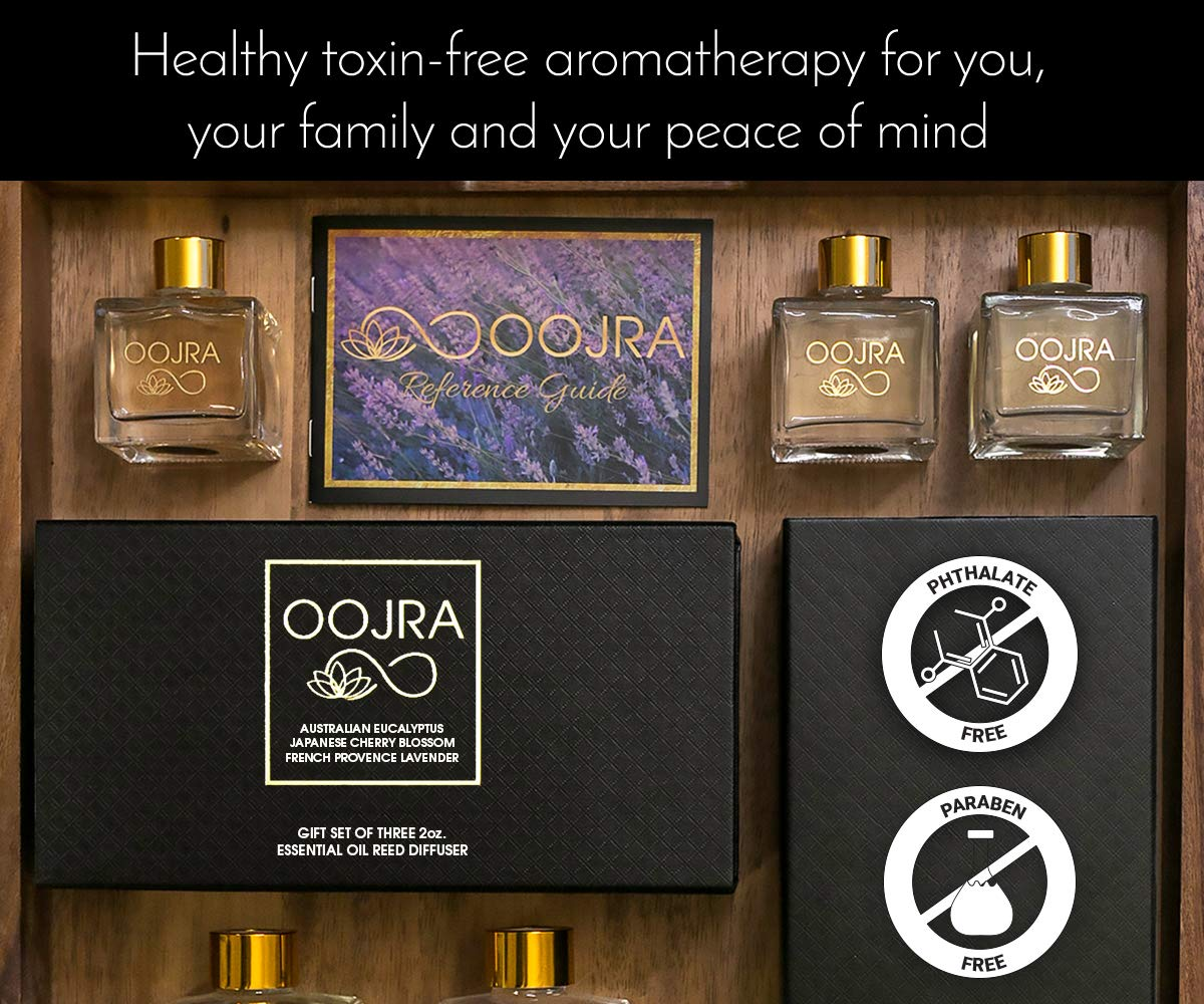 OOJRA 3 (2oz) Essential Oil Reed Diffusers Aromatherapy Gift Set; Australian Eucalyptus, Japanese Cherry Blossom, French Provence Lavender; Decor Bottle 6oz Total (Lasts 5+ Months) by OOJRA (Image #5)