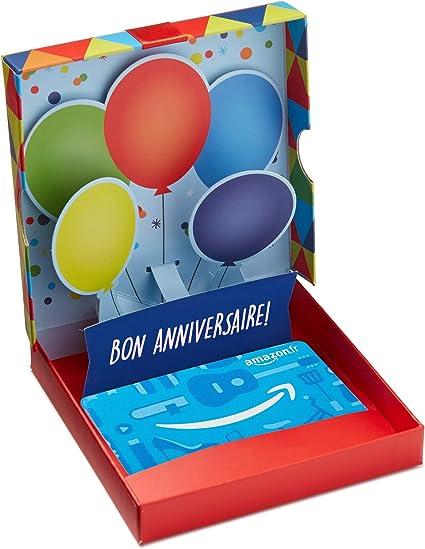 Carte Cadeau Amazon Fr Dans Un Coffret Ballons D Anniversaire Amazon Fr Cheques Cadeaux