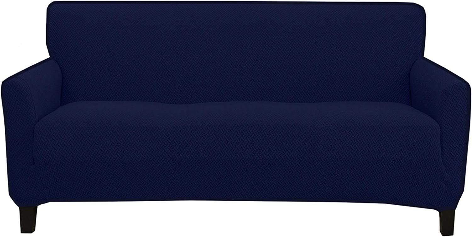 Great Bay Home Stretch Sofa Slipcover. Form Fit, Slip Resistant, Strapless Slipcover. Knitted Jacquard Stretch Couch Slipcover. Harlowe Collection (Sofa, Navy)