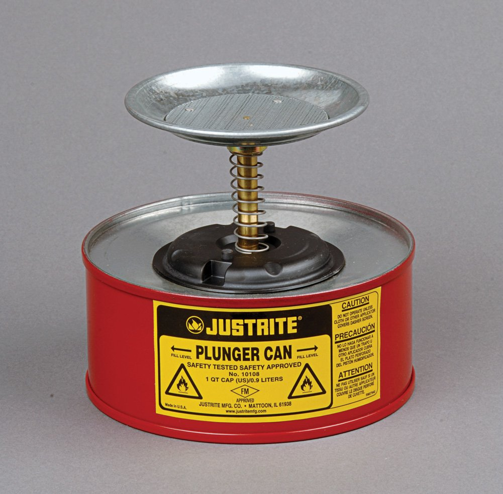 Justrite ® Plunger Can For Flammables - 1 Quart Red - 10108