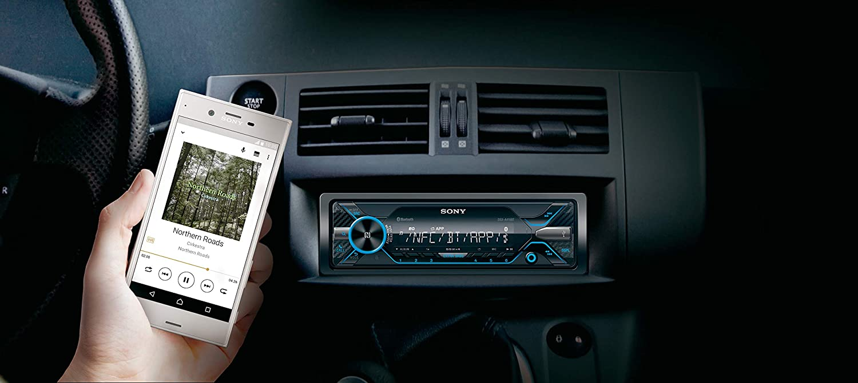 Noir 4 x 55 W, Commandes vocales compatible avec Siri Eyes et Android, USB, Dynamic Colour Illuminator Autoradio multim/édia avec technologie Bluetooth Dual Sony DSX-A416BT