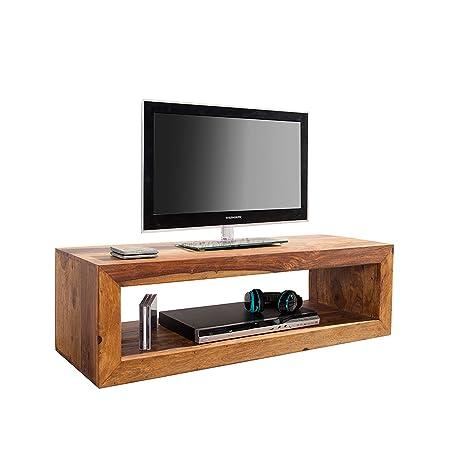 macizo Diseño TV tarjeta Cube Sheesham Honey acabado 100 cm ...