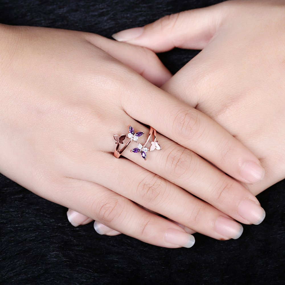 Qinlee Women Ring Elegant Fashion Butterfly Crystal Ring Diamond ...