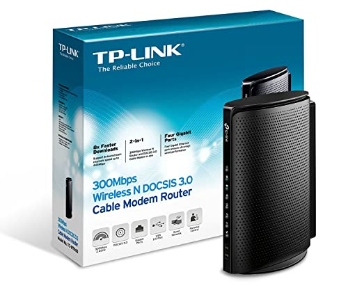 TP-Link N300 DOCSIS 3.0 (8x4) Wireless Wi-Fi Cable Modem Router, Certified for Comcast XFINITY, Time Warner Cable, Cox Communications, Charter, Spectrum (TC-W7960)