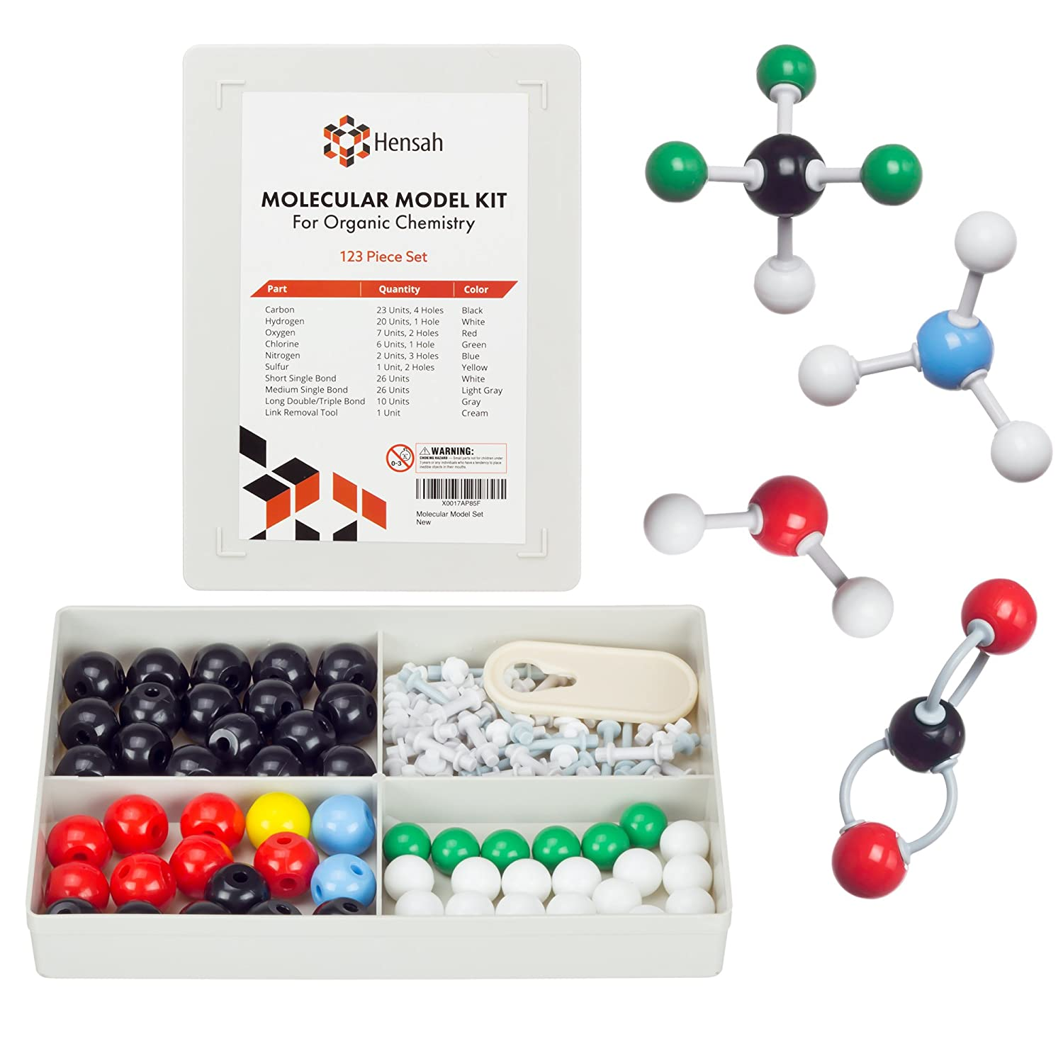 Chemistry Model Kit - Molecular Model Kit for General and Organic Chemistry - Student Molecular Modeling Kit (123 Pieces)