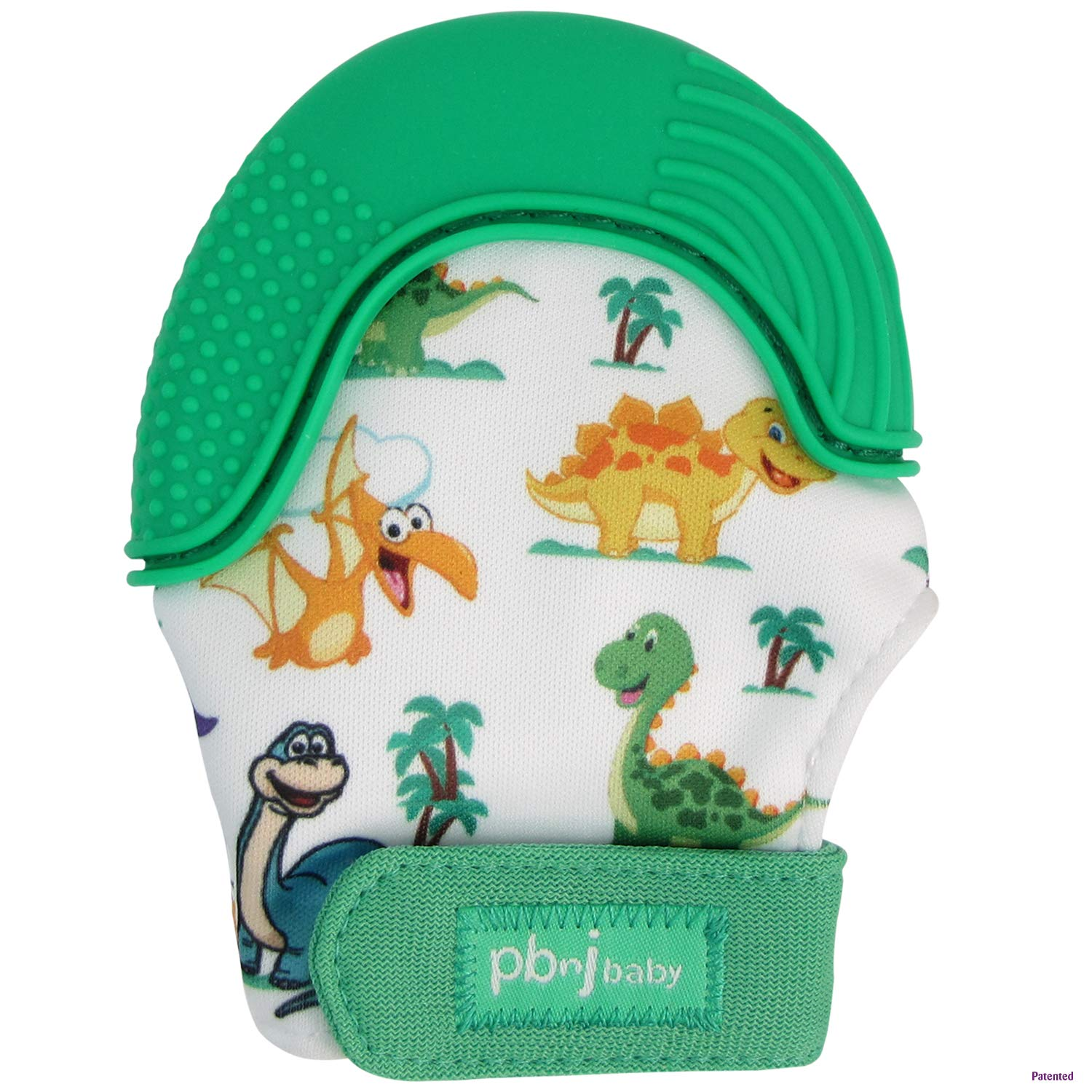 PBnJ baby Silicone Infant Teething Mitten Teether Glove Mitt Toy with Travel Bag (Dinosaur)