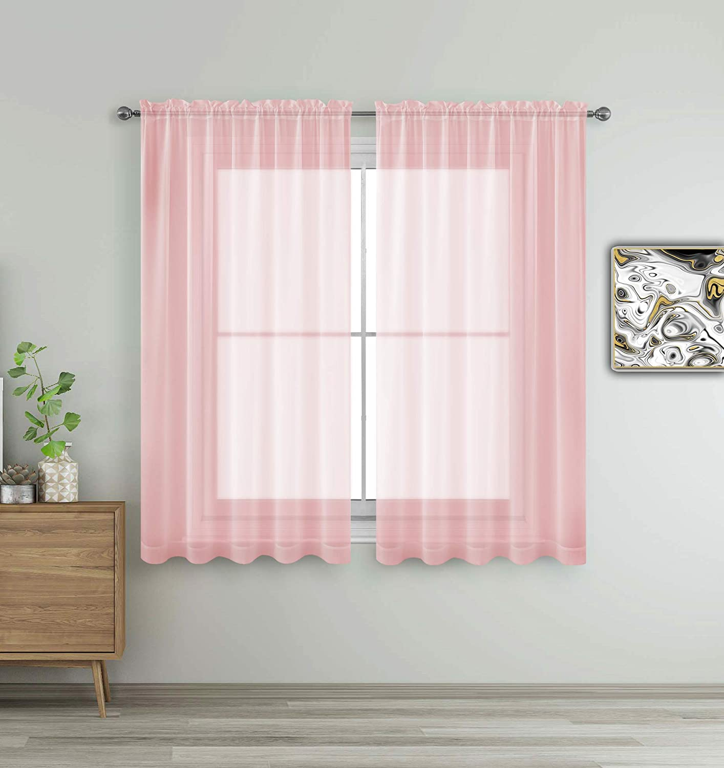 "Drape/Panels/Scarves/Treatment Beautiful Sheer Voile Window Elegance Curtains Scarf for Bedroom & Kitchen Fully Stitched and Hemmed (Blush Pink, 63"" Inch Long)"