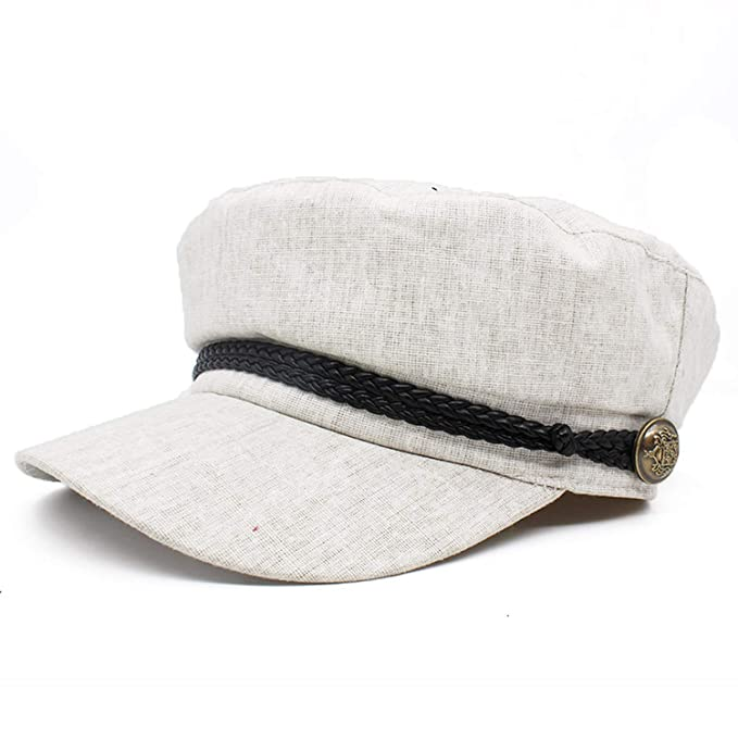 Women Newsboy Linen Octagonal Cap Spring Summer Beret Vintage Hat Bone Gorras Painter,Beige Adjustable