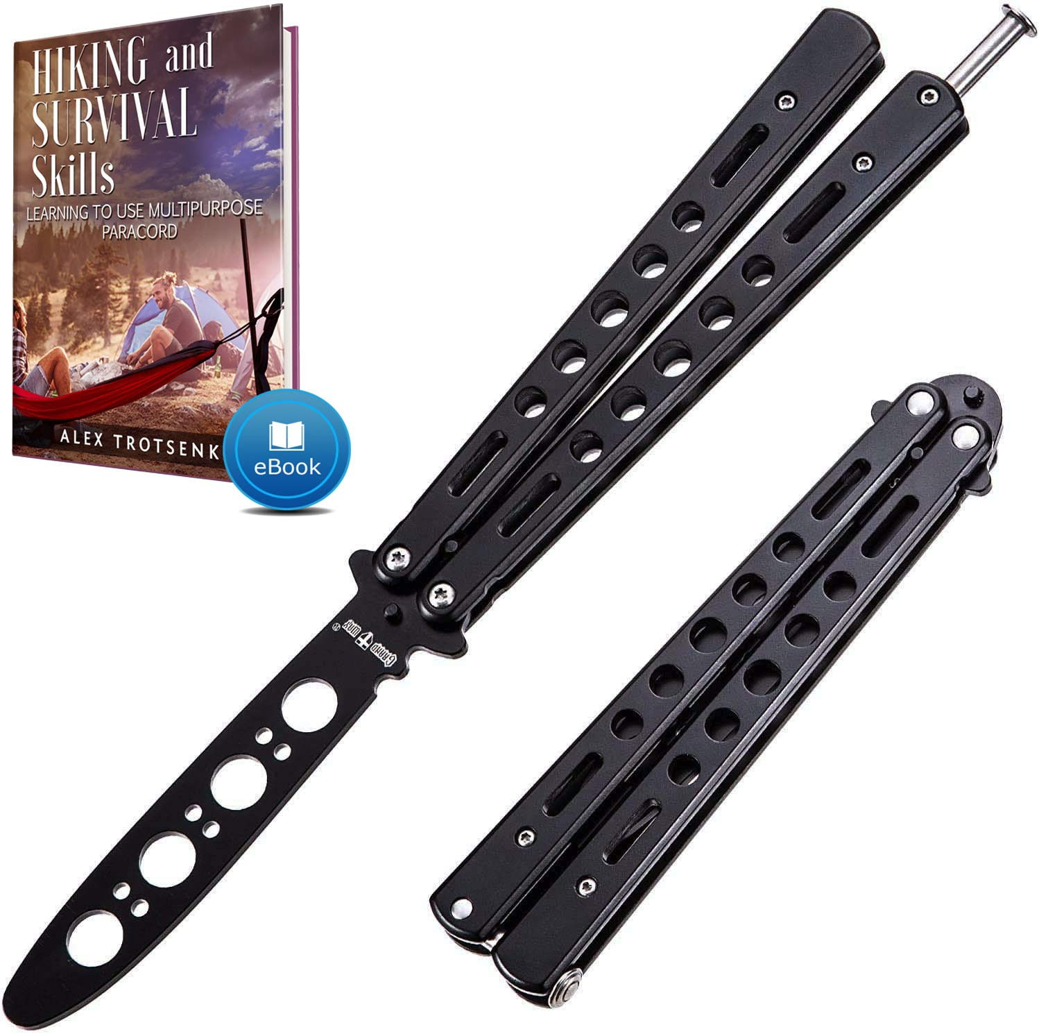Butterfly Knife Trainer - Balisong Trainer - Practice Butterfly Knife - Balisong Butterfly Knives NOT Real NOT Sharp Blade - Black Dull Trick Butterfly Knifes - Butter Fly Knife Training CSGO K10-B