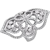 Sterling Silver Cubic Zirconia Long Ring Micro pave Floral 1 1/2 inch Long, sizes 6 - 9