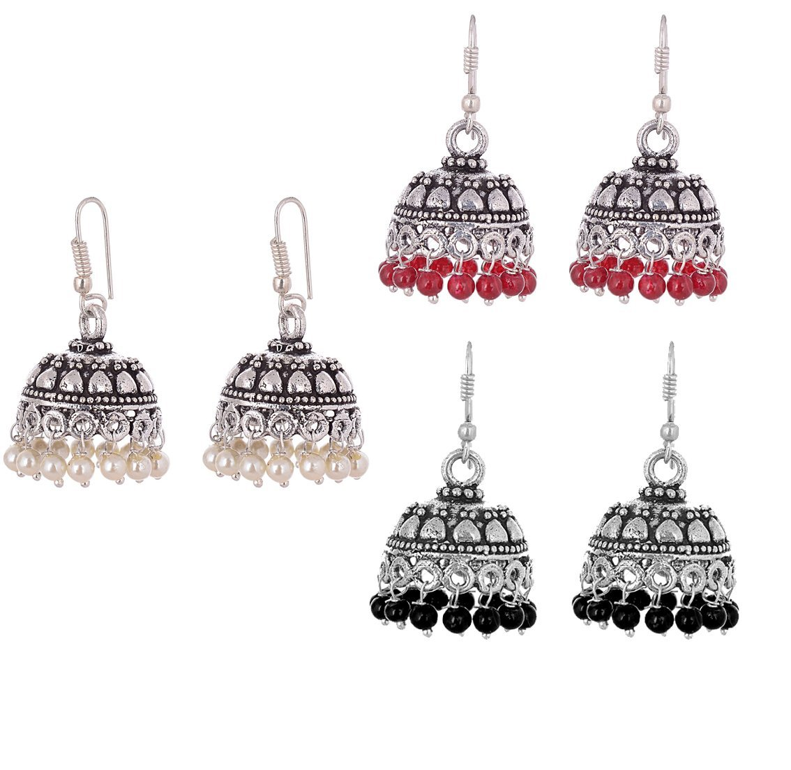 The Trendy Trendz Oxidized Silver Indian Jhumka/Jhumki Jewelry Earrings Combo for Women and Girls