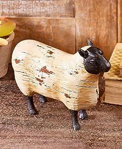 Better Home Space Farmhouse Decor Farm Animals | Animal Figures| Farm Toy |Animal Sculpture and Animal Statues| Cow Sculpture|Sheep Sculpture |Goat Sculpture |Pig Sculpture Rustic Farmhouse (Sheep)