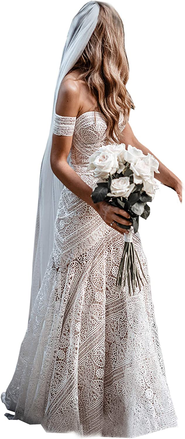Women S Bohemian Wedding Dresses Sweetheart Mermaid Lace Bridal Gown Amazon Ca Clothing Accessories