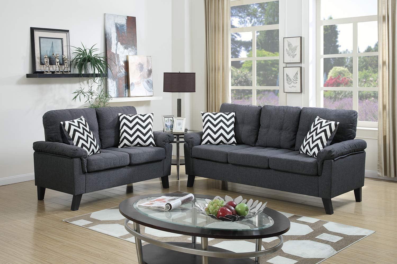 Poundex F6905 Bobkona Tyler Linen-Like 2 Piece Sofa and Loveseat Set Blue Grey
