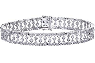 e8dbdbafc Naava Women's Diamond Bracelet, 9 ct White Gold, Illusion Setting 0.5 ct  Diamond Weight