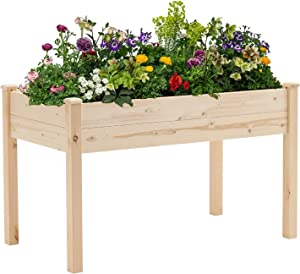Crownland Outdoor Gardens 4 Ft Raised Garden Bed Stand-up Wooden Garden Box with Legs Patio Planter Box Kit for Vegetables Herbs, Flowers Natural