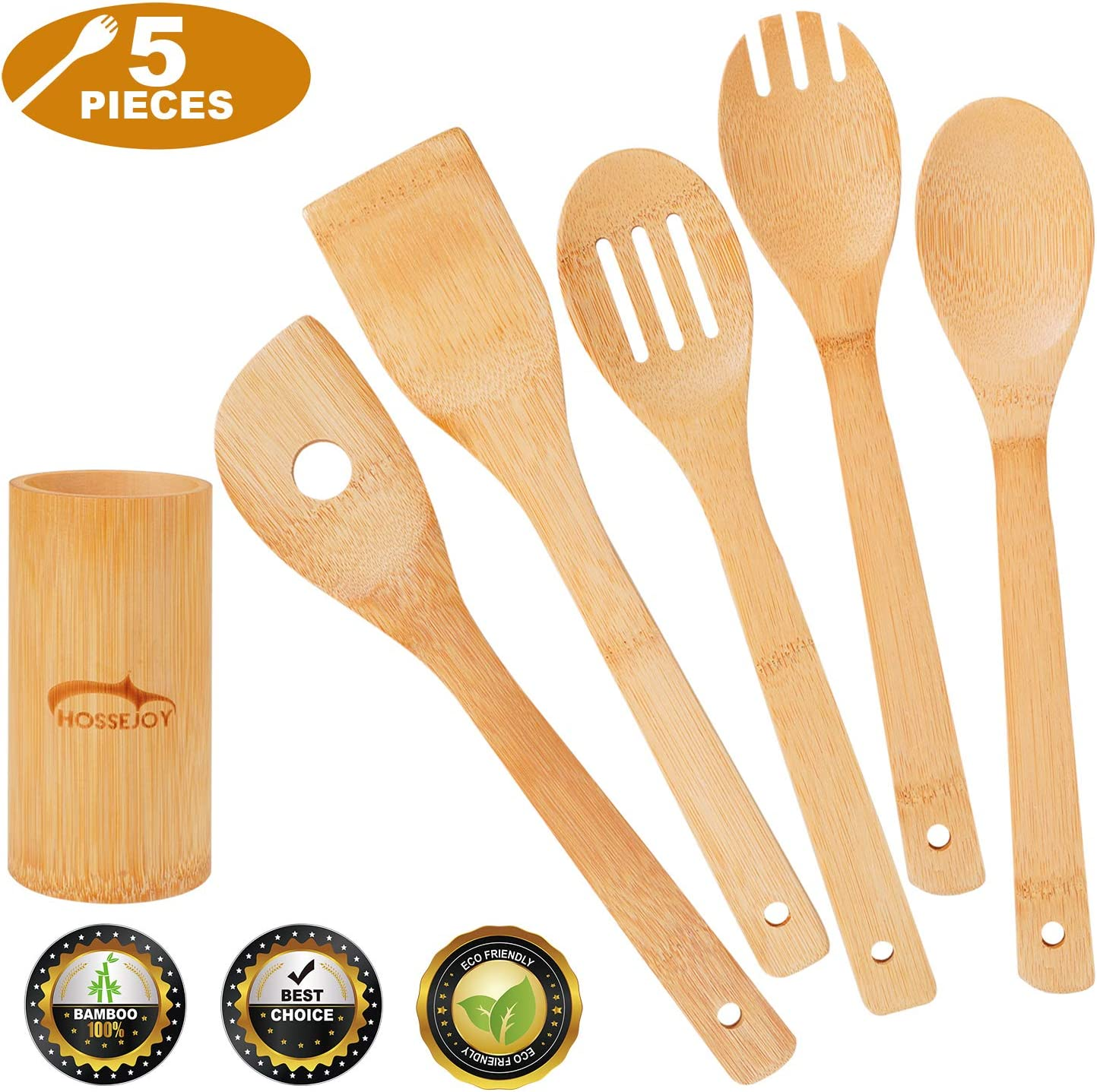 Eco Friendly and Easy To Clean Widousy Bamboo Cooking Utensil Set Bamboo Utensils Won/'t Scratch Your Pots And Pans 6 Piece Set incl 5 bamboo Kitchen Utensils and Elegant Holder
