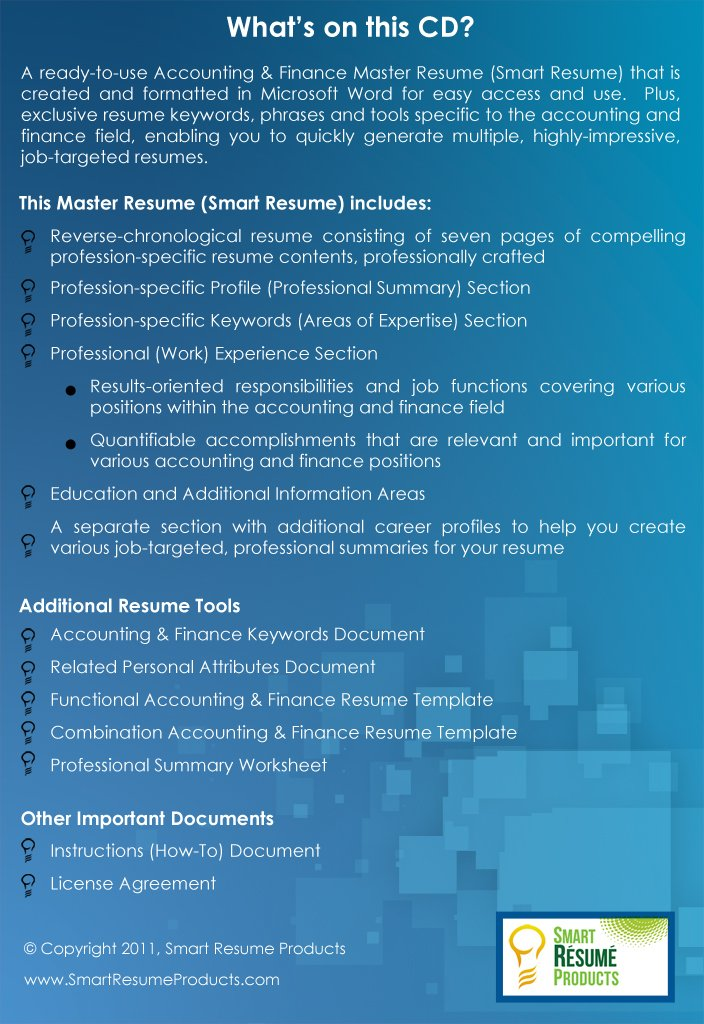 Accounting Finance Resumes Job Winning Ready To Use Master Resume