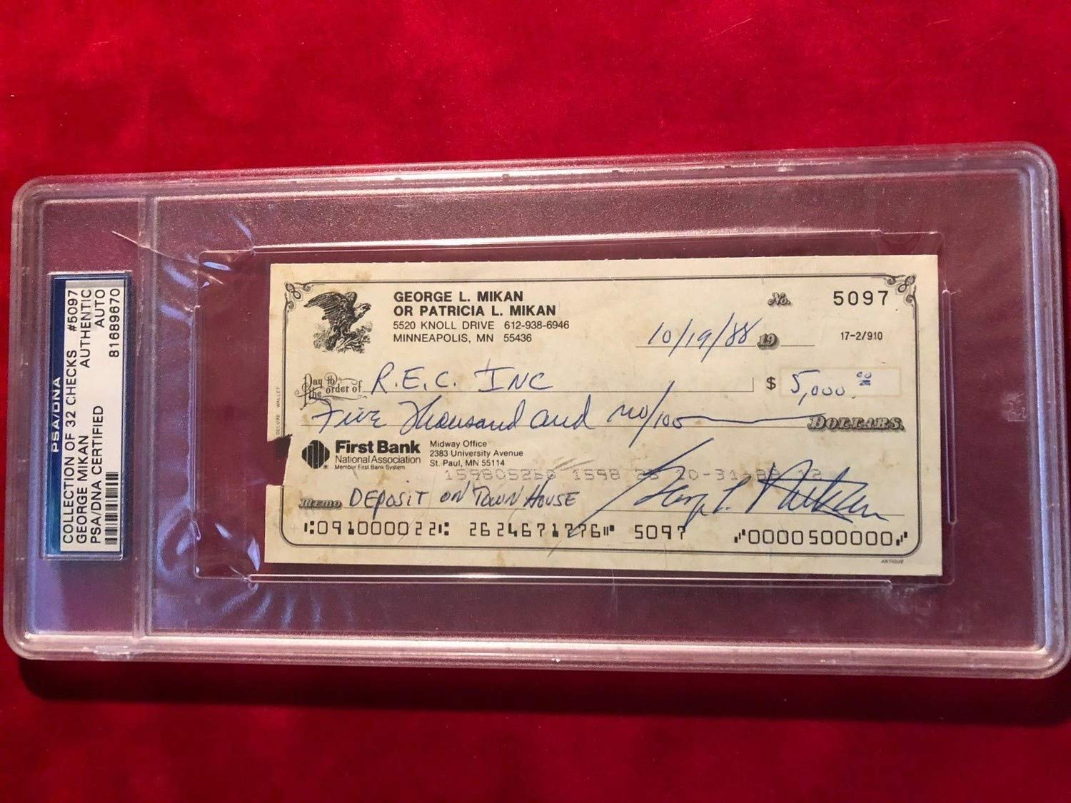 George Mikan Autographed Signed Check Autographed Auto PSA/DNA Authenticated & Slabbed