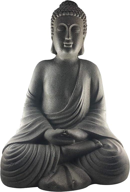 Figura de Buda grande, 51 X 37 X 34 cm, robusta y resistente a la intemperie, imitación piedra original, estatua decorativa para jardín de Buda sentado, fibra de piedra: Amazon.es: Jardín