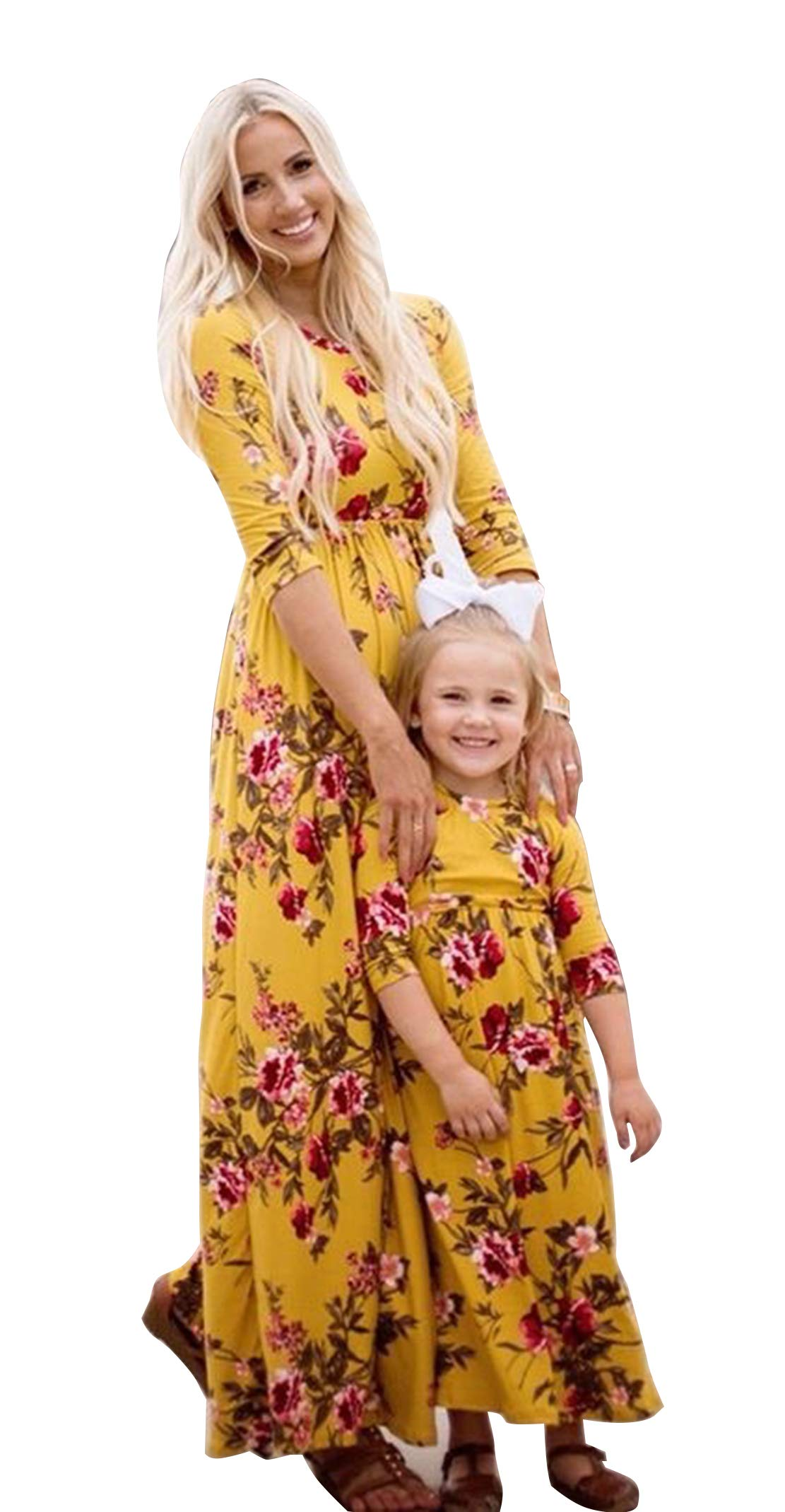 Family Matching Flower Print Long Sleeve Maxi Dress Mommy and Me High Waist Long Dress with Pockets (Daughter/3-4T) Yellow