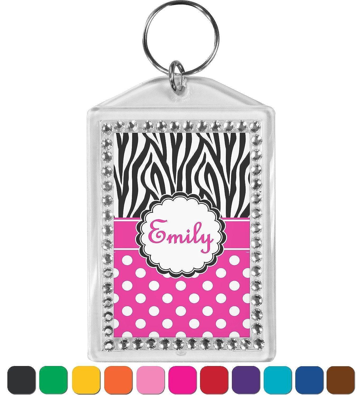 Zebra Print & Polka Dots Bling Keychain (Personalized)