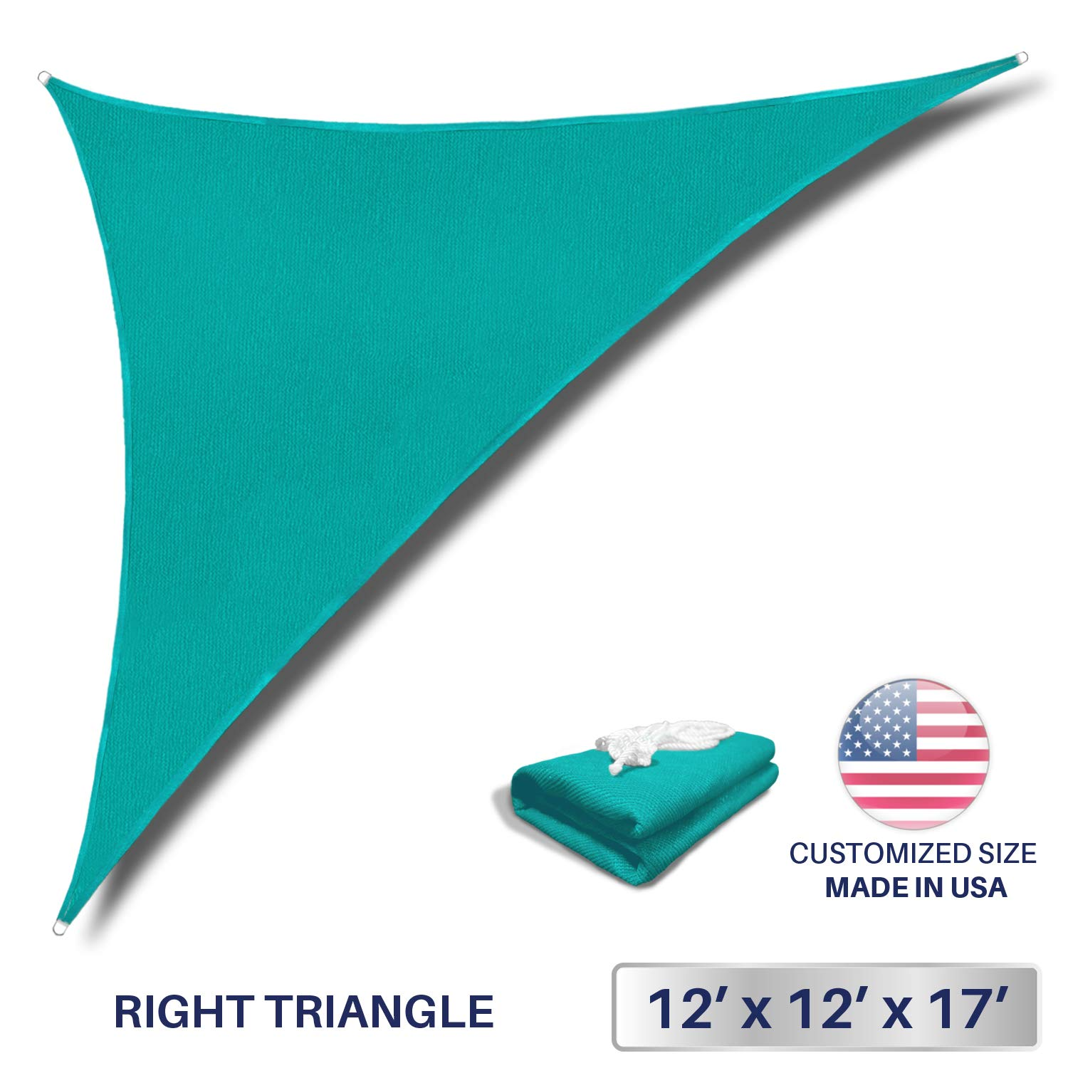 Windscreen4less 12' x 12' x 17' Sun Shade Sail Triangle Canopy in Turquoise with Commercial Grade (3 Year Warranty) Customized