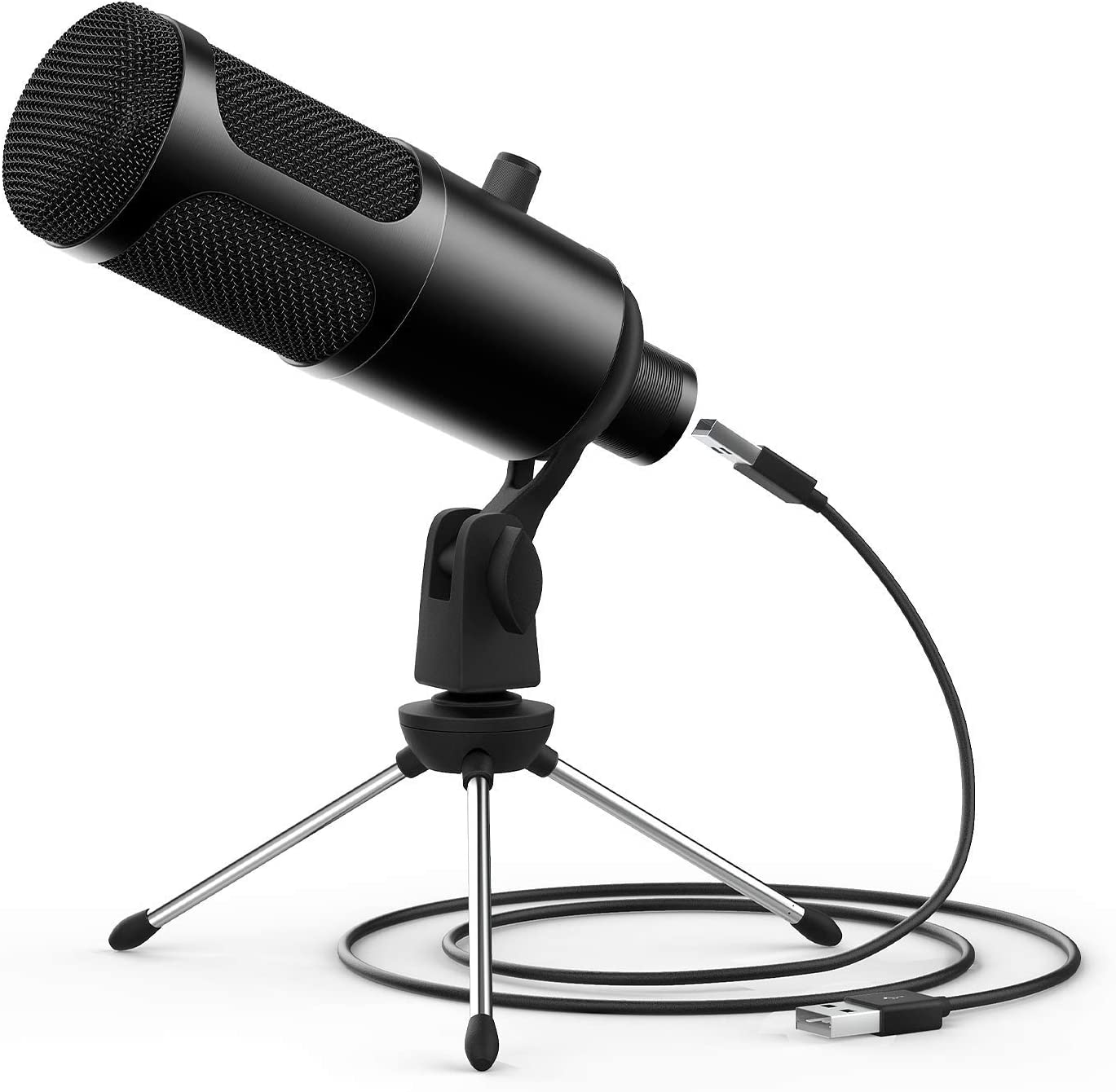 JEEMAK Professional Condenser Microphone Set with Adjustable Mic Arm Stand Shock Mount for Gaming Studio Podcast Recording YouTube Video Steaming USB Microphone Kit for PC Computer