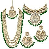 SADHANA COLLECTION Traditional Jewellery Kundan Pearl Necklace Set with Choker Earrings for Women