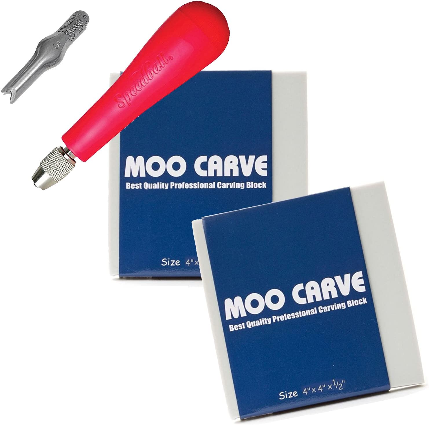 Moo Carving Printing Studio Pack of Easy to Cut Soft Blocks with Speedball Linoleum Cutting Tool /& Blade Artist Printmaking art and tool set 2 Pack 4x4x1//2