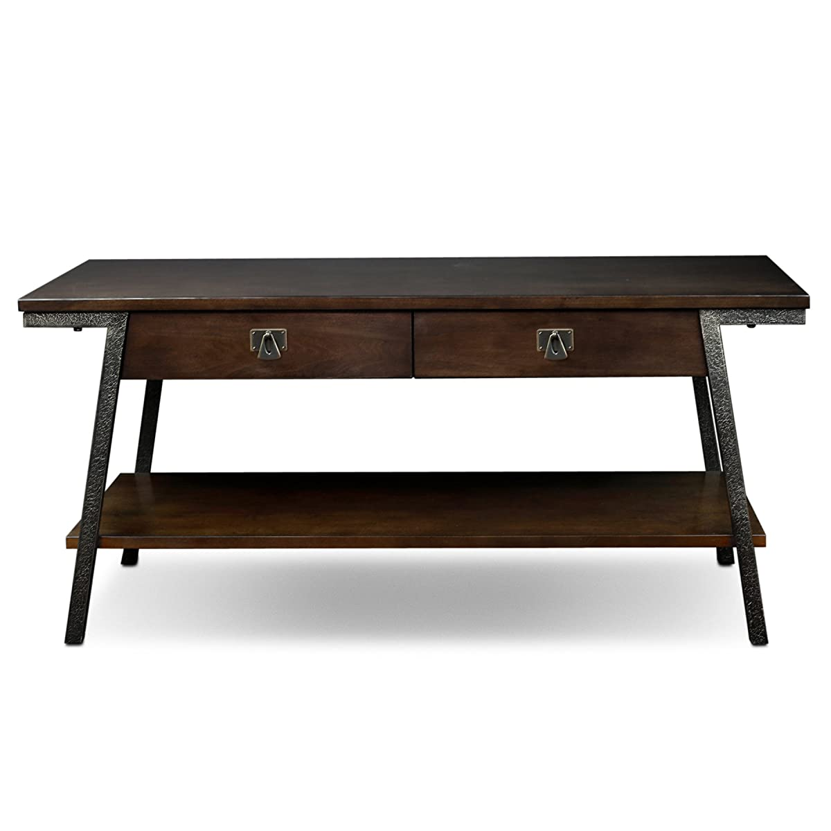 Leick 11404 Empiria Modern Industrial Two Drawer Coffee Table - Walnut