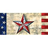 "Evergreen Flag Patriotic Star Decorative Rubber and Polyester Sassafras Switch Door Mat - 22""W x 10""H"