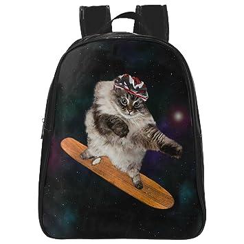 interestprint Funny Galaxy Cat personalizado de piel sintética espacio mochila escolar bolsa de viaje mochila negro negro S: Amazon.es: Electrónica