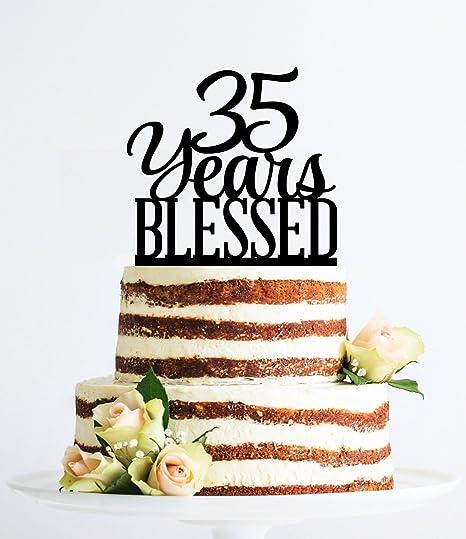 Qidushop Karen S Cake Toppers Decoration De Gateau Pour Homme Et Femme Inscription 35 Years Blessed Amazon Fr Cuisine Maison