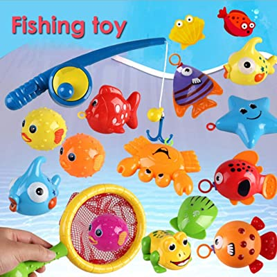 Bath Toy, Fishing Floating Squirts Toy & Water Scoop Nepdome 15PCS Fish Net Game in Bathtub Bathroom Pool Bath Time for Kids Toddler Baby Boys Girls, Bath Tub Spoon: Sports & Outdoors