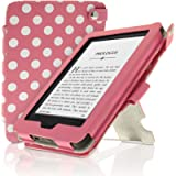 iGadgitz Premium Pink with White Polka Dot PU Leather Case Cover for New Amazon Kindle 2014 (Touchscreen) 7th Generation…