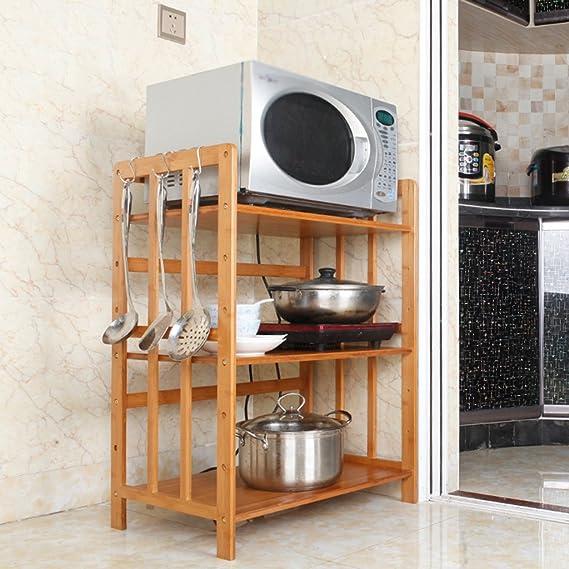 Estantes y soportes para ollas y sartenes HWF 3 Camas Horno de microondas Estantería de Rack Estante de Cocina Estantes de Almacenamiento Multifunción: ...