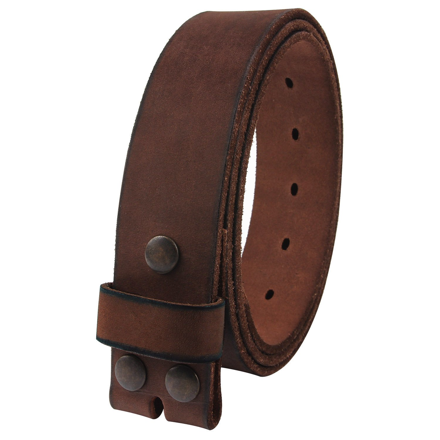 NPET Mens Leather Belt Full Grain Vintage Distressed Style Snap on Strap 1 1/2'' Wide Coffee 36''-38''