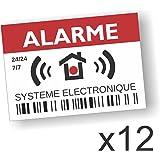 Decooo.be Autocollants dissuasifs Alarme - Système électronique - Lot de 12 - Dimensions 7,4 x 5,2 cm