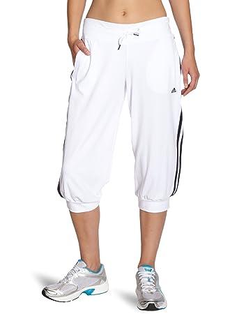 adidas Damen Trainingshose Essentials 3-Stripes 3 4 Pants, White Black, 22ef749ec4