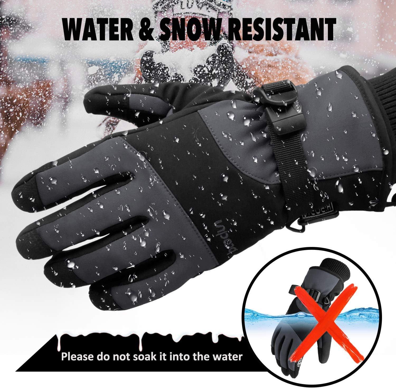 Elegant Choise Ski Gloves Waterproof Ski Gloves Windproof Winter Gloves Touchscree Gloves Thinsulate Snow Gloves for Men Snowboard