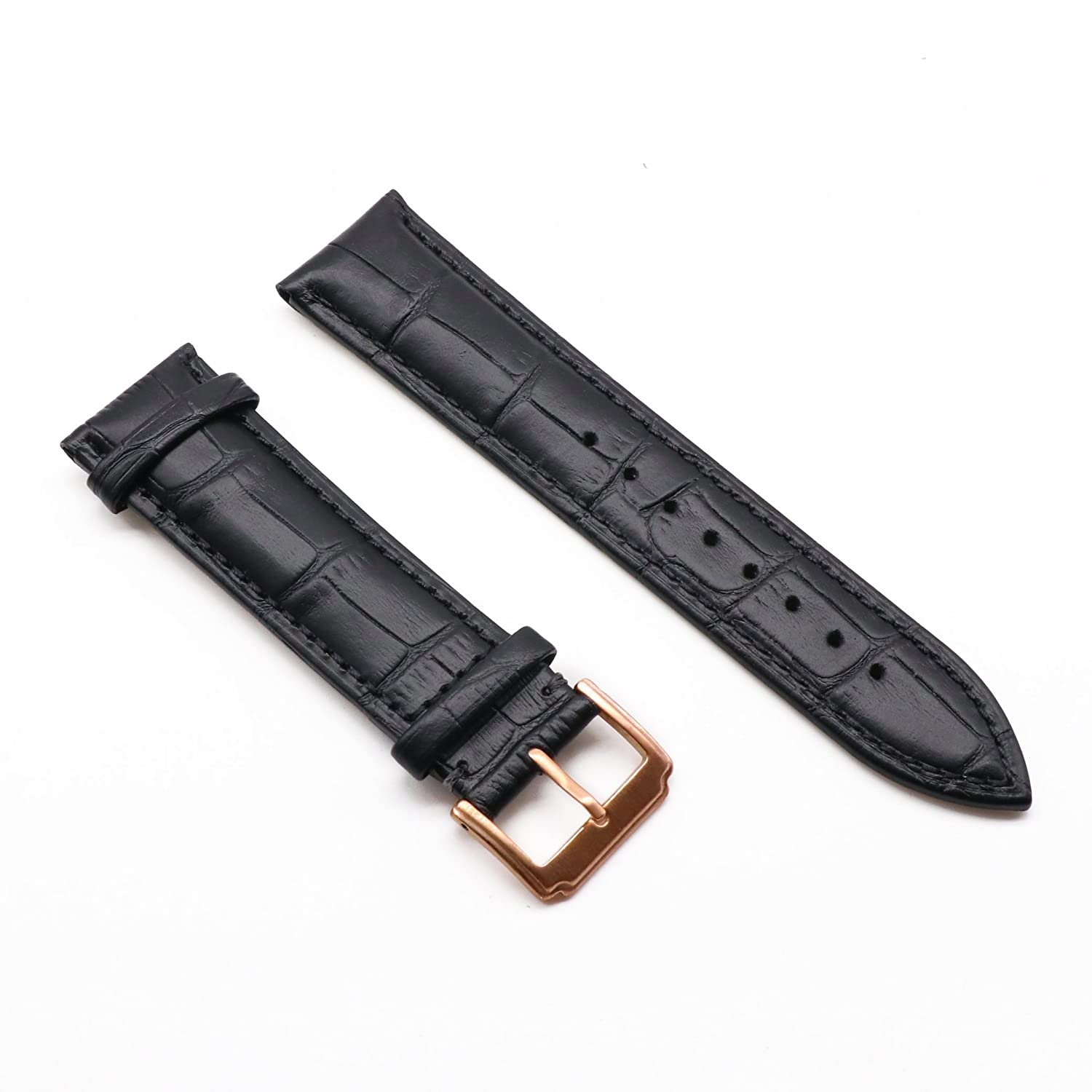 c78a01b21 Amazon.com: AUTULET Black Leather Watch Strap 23MM with Rose Gold Buckle  Mens or Womens: Watches