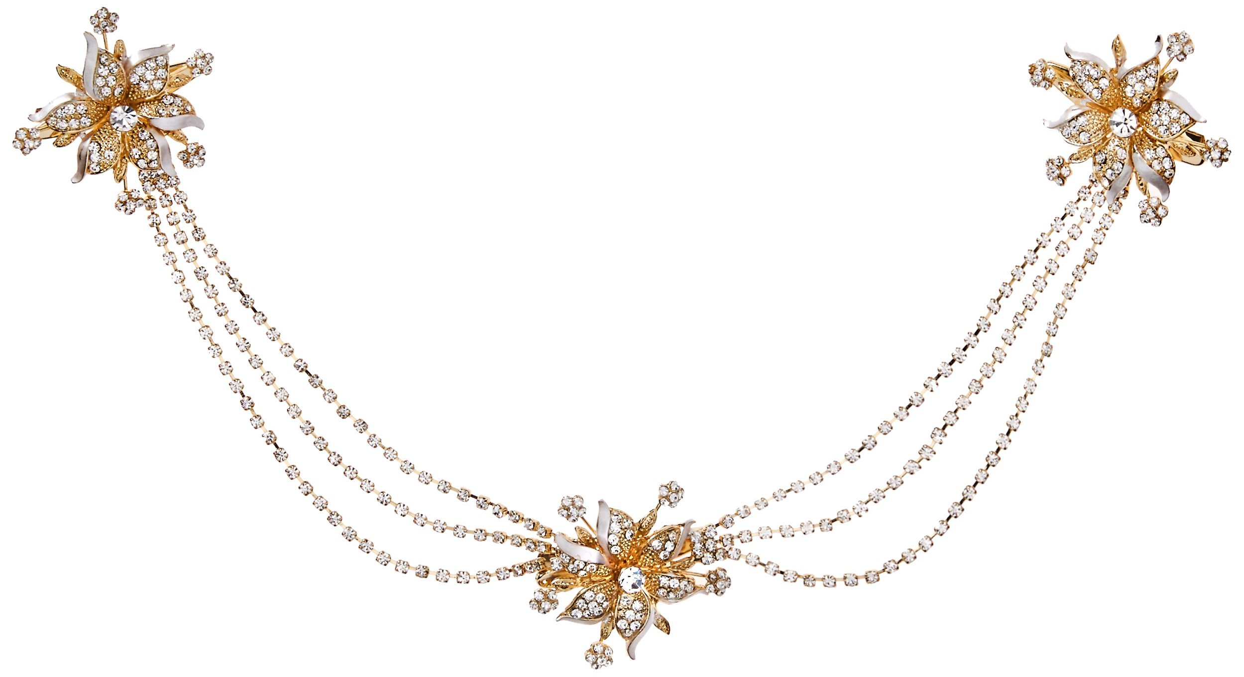Twigs & Honey Women's Triple Flower and SWAG Bridal Hairpiece, Gold, One Size