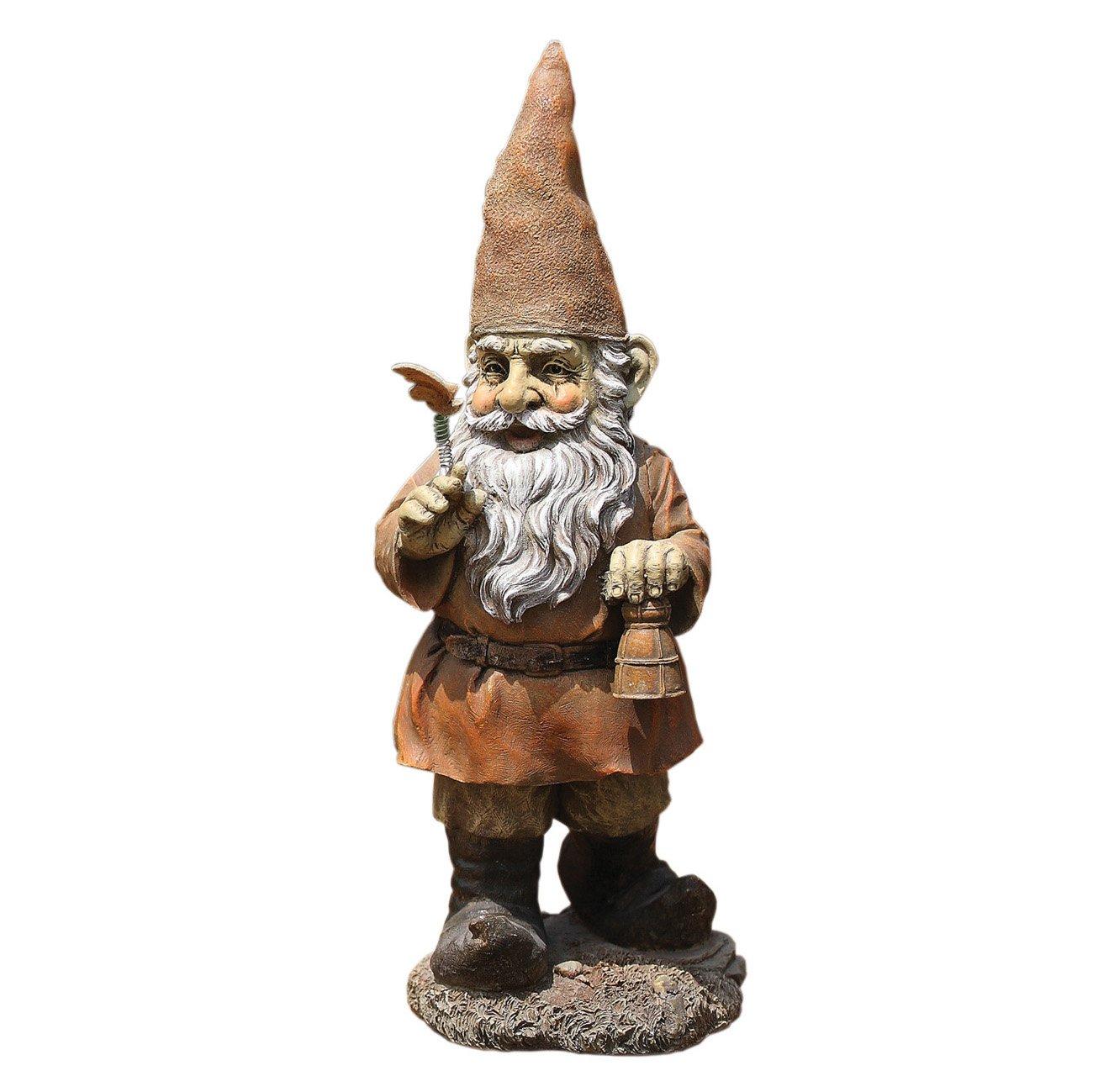 Gnome Standing with Bell 12 Inch Resin Decorative Indoor Outdoor Garden Statue Figurine