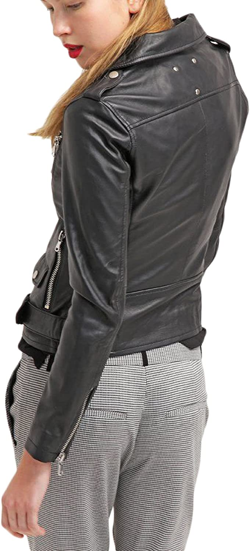 Kingdom Leather New Women Motorcycle Lambskin Leather Jacket Coat Size XS S M L XL XW580